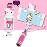 Wholesale cute lovely cartoon mini monopod for Ios android wired aluminum colorful extendable protable selfie sticks for Iphone s plus
