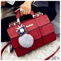 balls gold tone - DHL Bag spring summer new women handbags bag fashion Palace grid single shoulder car suture Boston packet hair ball hand Messenger bag