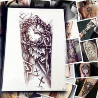 armed cross tattoos - PC Old Clock Temporary Tattoo Stickers Cross Desigm Large Size Punk Tattoo For Men Body Arm Sleeve Tattoo Adhesive PQS A030