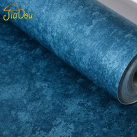 Wholesale Mediterranean Retro Solid Plain Color Lake Blue Non woven Wallpaper Shop Decoration Bedroom Living Clothing Store Wallpaper Roll