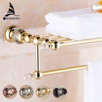 Wholesale Brass Crystal Titanium Gold Plating Towel Rack towel Shelf with Bar towel Holder Bathroom accessories HK