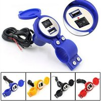 Wholesale Mixed Colorful Motorcycle Waterproof USB2 Charger Power Adapter Switch cable m