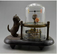 Wholesale Collectible Decorated Old Handwork Copper Carved Cat Fish Mechanical Table Clock