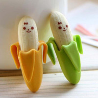 Wholesale Creative Cute Banana Fruit Pencil Eraser Rubber Novelty Kids Student Learning Office Stationery Kid Gift