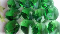 Wholesale 100Pcs MM good quality Green Crystal Glass Octagon Beads With Hole Holes crystal prisms Freeshipping
