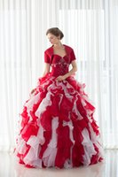 Wholesale Real Picture In Stock With Jacket Organza Quinceanera Dresses Ruffles Floor length Beaded Sweet Prom Dresses Designer Occasion Dresses