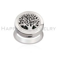 band perfume - 20mm Stainless Steel Essential Oil Diffuser Ring tree of life Perfume Aromatherapy Ring magnet locket Ring With Pad