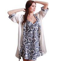 Wholesale Satin Night Suits - Wholesale-Sleep Robe De Femme 2016 Top Fashion Summer Sleepwear Robe Femme Satin Home Suit Night Shirt Pajamas Suit Set Robe Nightgown Set