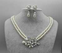anniversary party themes - White Gold Plated Double Strand Cream Pearl Butterfly and Flower Theme Bridal Necklace and Earrings Jewelry Sets