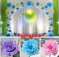 Wholesale 20CM CM CM cm Big Foam Rose Flower For Wedding Stage Background Door Decorative Flower Party Decoration Supplies white blue pink