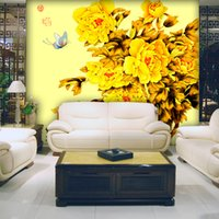 atmosphere wallpaper - Atmosphere Yellow Peony butterfly wallpaper indoor background hotel decoration manufacturers direct delivery speed
