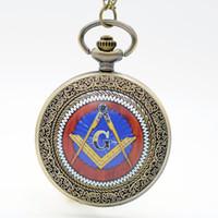 ancient masons - Masons Freemasonry G fob Watches Quartz Pocket Watch Women Watch Analog Pendant Necklace Men Womens Gift Ancient Bronze Classic