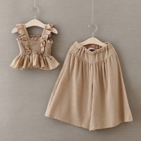 big leg pants - 2016 Summer Big Girls Fashion Outfits Kids Suspenders Top and Wide Leg Pants Girls two piece Set Kids Girls Elegant Summer Cute Suits