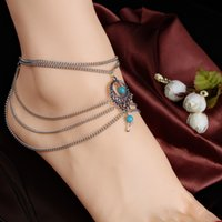 Wholesale Hot Fashion Summer Beach Foot Jewelry Metal Chain Multi layers Vintage Drop Anklets Bracelets For Women