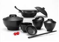Wholesale 10pcs melamine kitchen tool dinnerware melamine bowl with lid black
