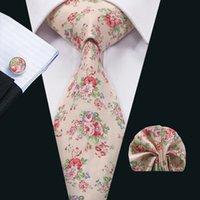 Cuello corbata rosa Establece floral corbata clásica de algodón corbatas Lazo Hankerchief Cuffinks Establece formal del banquete de boda de negocios N-1327