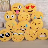 Wholesale Fashion Diameter cm designs Cute Emoji Cushion Smiley Pillows Stuffed Plush Toy Yellow Round Pillow Cartoon Cushion Pillows