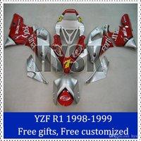 kits del carenado Fortuna para Yamaha YZF R1 1999 1998 1999 de la motocicleta de la carrocería YZF-R1 1998 de la plata roja Racing kit de carenado con regalos