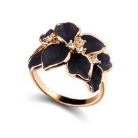 al por mayor las joyas a juego-Flores de cristal de la moda de las mujeres del oro del esmalte de la aleación de níquel-libre lindo anillo Tamaño 7 Anillo de la mujer joyas de moda Todo-fósforo de las señoras de joyería