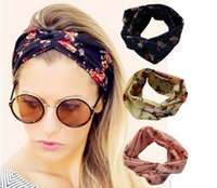 Wholesale 10colors Fashion Retro Women Elastic Turban Twisted Knotted Headband Ethnic Floral Wide Stretch Girl Yoga Hair Accessories