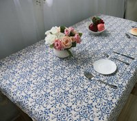 Wholesale 2Pcs Chinese Style Table Cloth Simplicity Patterns Cotton Linen Textiles Retro Blue and White Porcelain Table Cloth for Home Restaurant