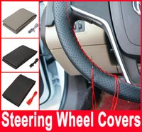 Wholesale Car Steering Wheel Cover DIY With Needles and Thread Artificial leather Gray Black Hot selling
