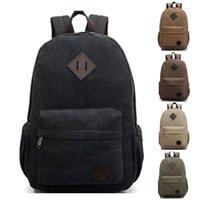 army camping bag backpack - Hot New Men Bag Canvas Vintage Backpack Student Rucksack Laptop Shoulder Casual Travel Camping Bag