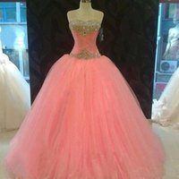 Cheap Elegant Dress Prom Ball Gown Baby Pink Dress Pageant Gowns Cheap Quinceanera Dresses Sequins Dress Sweetheart Neck Charming Beautiful