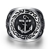anchor rings - Men s Stainless Steel Ring Silver Black Pentagram Pentacle Anchor Nautical Signet Vintage