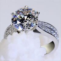Moda plata de ley 925 anillos de dedo de la piedra preciosa de las mujeres clásico de seis puntas anillo de ajuste 3ct coctel de la boda SONA