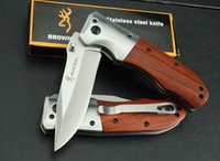 Wholesale Drop shipping OEM EDC Browning DA51 folding blade knife C HRC steel wood handle Fast open Tactical knife survival knives Original box
