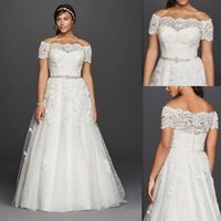 A-Line Reference Images 2016 Spring Summer Plus Size Wedding Dresses Off The Shoulder Sheer Lace Short Sleeves Bridal Gowns Tulle Appliques Beaded White Cheap Big Dress For Fat Brides