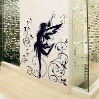 ballerina decor for girls room - Black Dancing Girl Fairy Ballerina Silhouette Removable Wall Stickers Home Decor for Living Room Kids Rooms