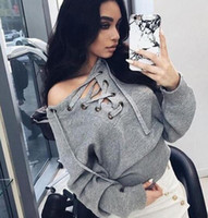 Wholesale 2016 explosion models Womens Casual Jumper sweater Fashion deep V knitted sweaters pullovers Strap hollow Long sleeve T shirt