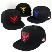 Wholesale 3D Cartoon poke Go Logo Caps Pocket Monster Embroidery cap Hats Casual Poke Mon men women Unisex Baseball Cap mystic valor snapback
