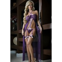 Wholesale Sexy Lingerie Long style Pajamas exotic dresses Lin Tai underwear Halter Sheer Women s Sleepwear