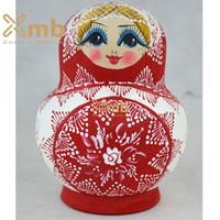 babushka fashion - 2016 Matryoshka quot Zhostovo Red quot pieces Babushka dolls Home Decor Christmas Gift
