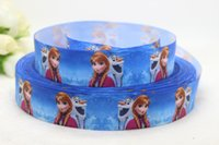 Wholesale new arrival yards mm Anna princess printed ribbon grosgrain ribbon hair Bow Ribbon
