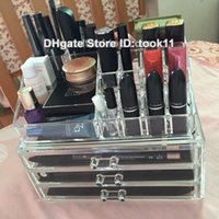 acrylic desk organizers - Big Cosmetic case make up organizer large acrylic makeup storage box rangement maquillage plastic drawer holder toilette desk mess no more