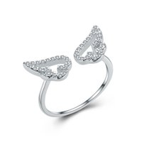Wholesale birthday gift high quality fashion angel wing shape ring sterling silver jewelry China beautiful gift to girl and ladies