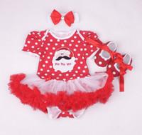 Bébés garçons Filles Combinaisons de Noël Bébé nouvel an robe de coton bébé robes vêtements enfants porter pompon jupe 3 pièces GLS012B