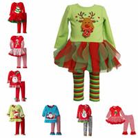 baby pyjama - Christmas Pajamas Long Sleeve Pyjamas Kids Striped Pajamas Kids Nightwear Set Xmas Pajamas Baby Sleepwear Kid Cothes Set Cartoon Pajamas E18