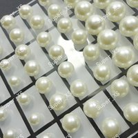 Wholesale 72Pcs Set Fashion Round Simulated Pearl Stainless Steel Stud Earrings For Women Jewelry Bulk Sets LR294