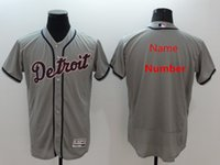 base number - Custom any players numbers Men s Baseball Jerseys Detroit Tigers shirt cool base jerseys sportware Authentic grey white suits