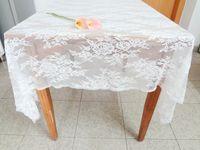 lace tablecloth - 150 cm Oblong Lace Jacquard Wedding Tablecloths Party Home Decor Washable Vintage Kitchen Dining Table Cloths Floral Textiles Decoration