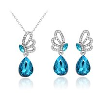 aqua crystal gifts - 2016 Jewelry set butterfly necklace earring Austria crystal pendant Diamonds earring High quality pendant necklace women jewelry AC195