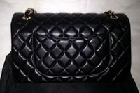 Wholesale Lambskin jumbo bag with double flap red black