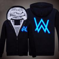 alan longing - New Men s Winter Jackets and Coats Faded Alan Walker Hoodie Luminous Thick Zipper Sweatshirts US Size M XL High Quality