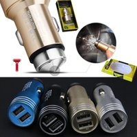 Wholesale Metal Safty Hammer Car Chargers v A Dual USB Charger Universal Adapter for iphone s Plus Plus Samsung S4 EDGE Huawei