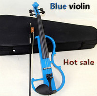 Wholesale 1PC high quality sky blue handmake electric violin with case for beginner